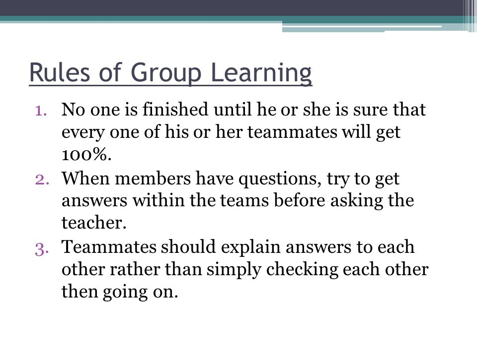 Rules of Group Learning