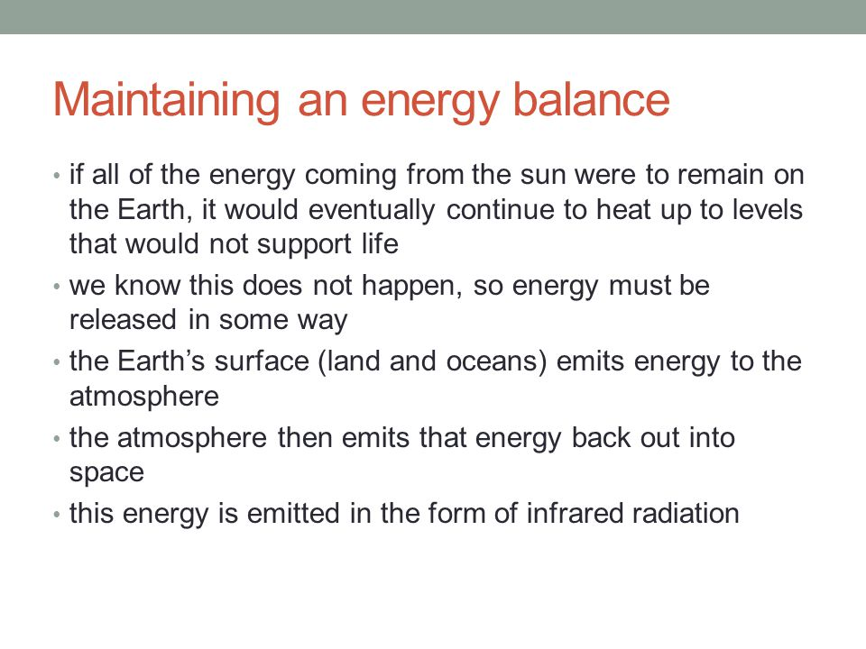 Maintaining an energy balance