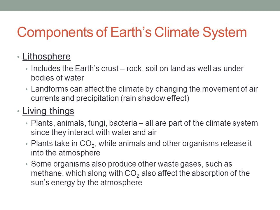 Components of Earth's Climate System