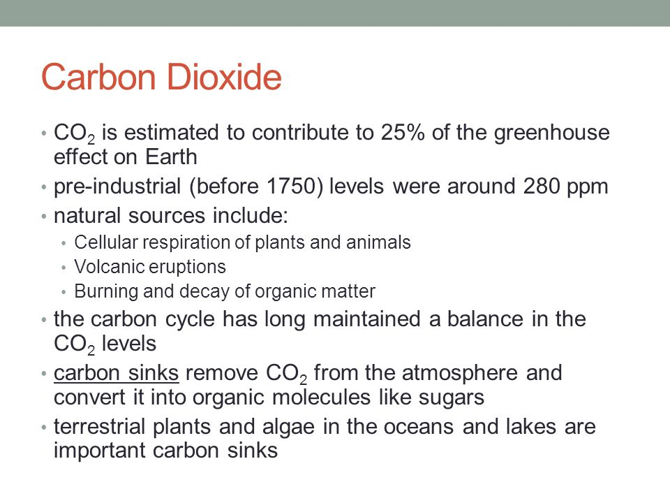 Carbon Dioxide CO2 is estimated to contribute to 25% of the greenhouse effect on Earth. pre-industrial (before 1750) levels were around 280 ppm.