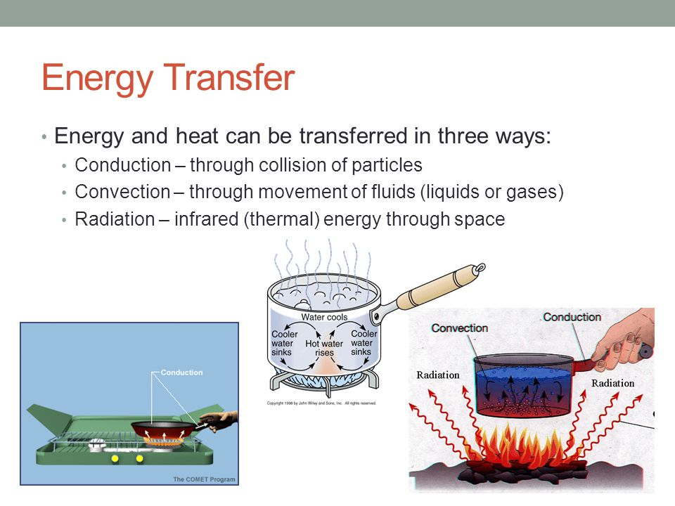Energy Transfer Energy and heat can be transferred in three ways: