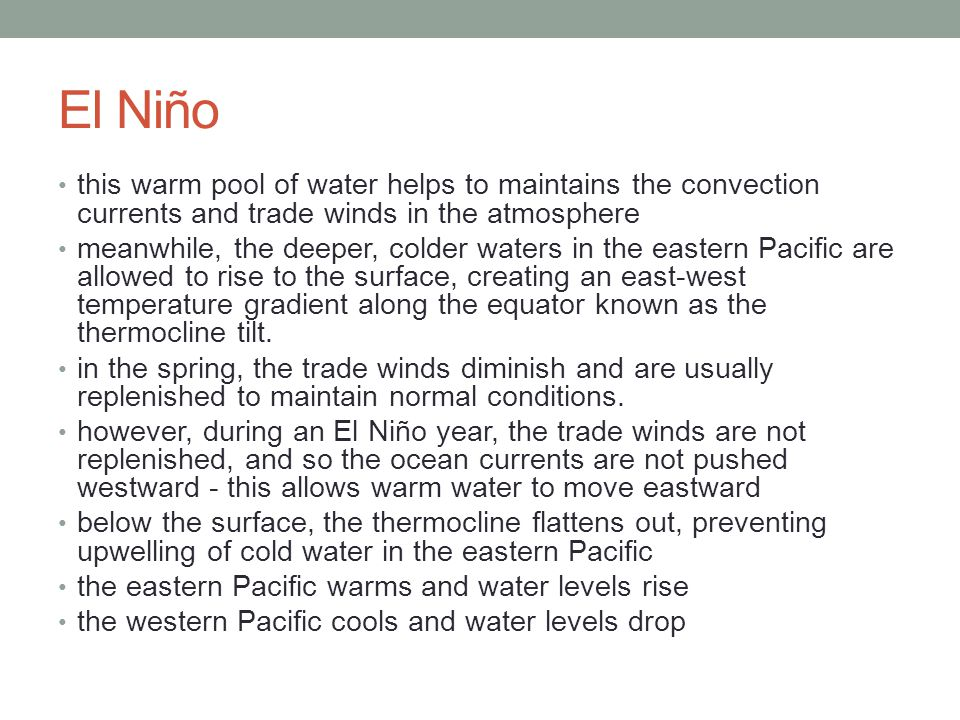 El Niño this warm pool of water helps to maintains the convection currents and trade winds in the atmosphere.