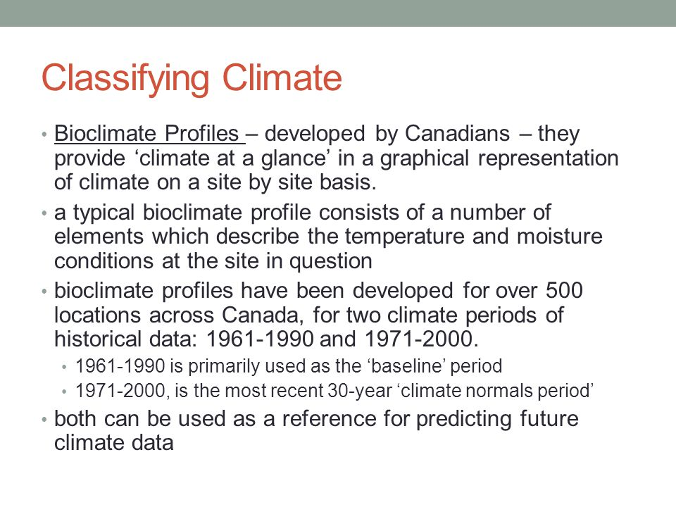 Classifying Climate