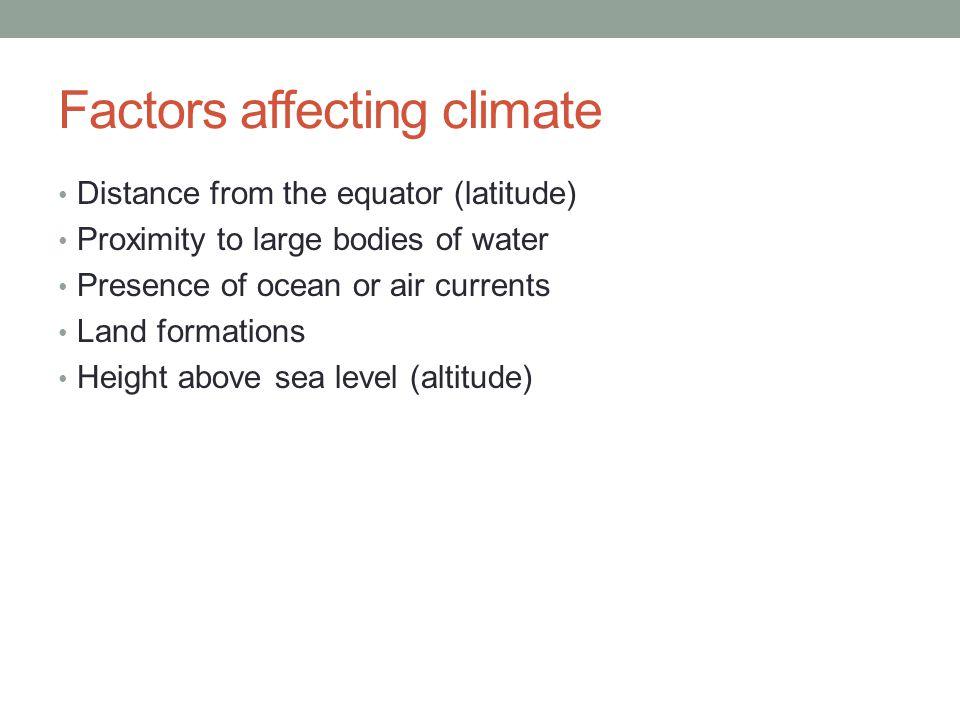 Factors affecting climate