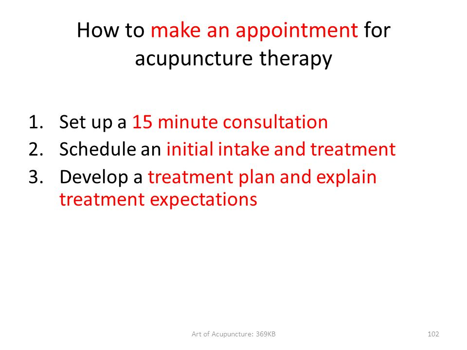 How to make an appointment for acupuncture therapy