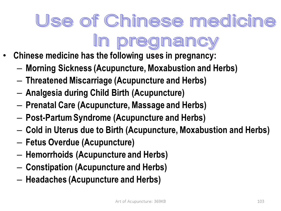 Use of Chinese medicine