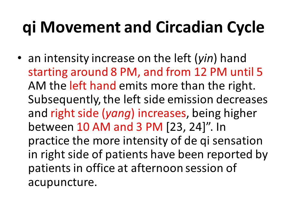 qi Movement and Circadian Cycle