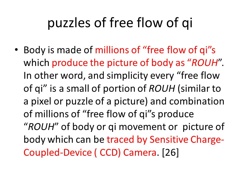 puzzles of free flow of qi