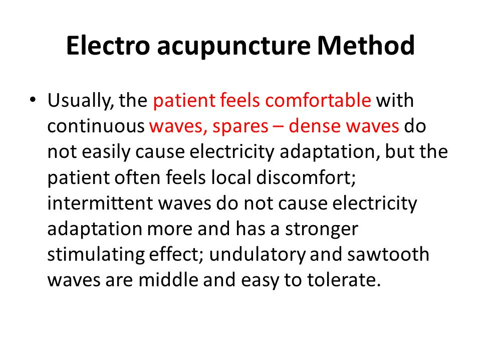 Electro acupuncture Method
