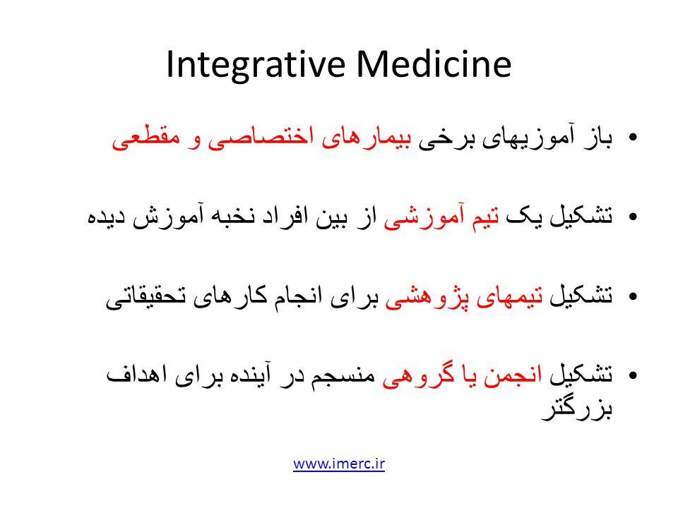 Integrative Medicine باز آموزیهای برخی بیمارهای اختصاصی و مقطعی