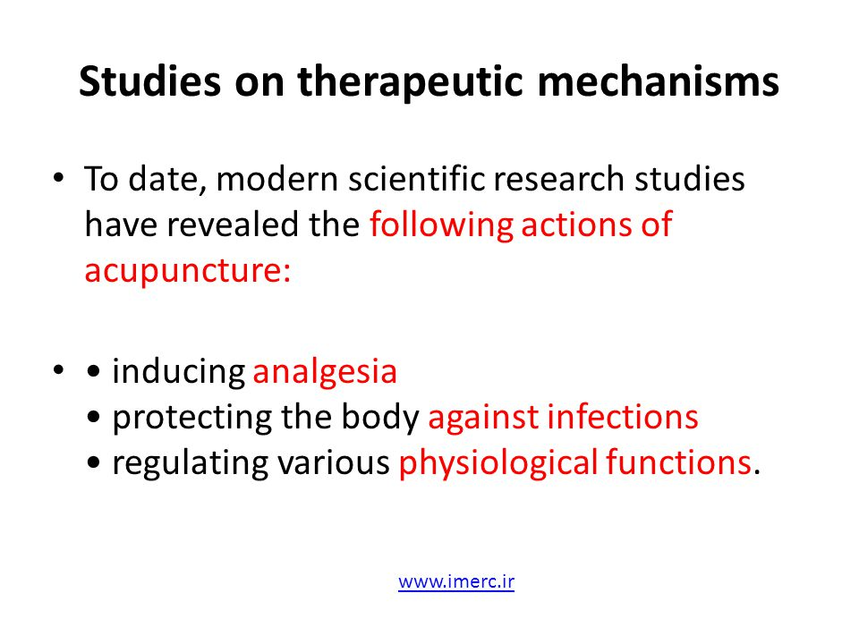 Studies on therapeutic mechanisms