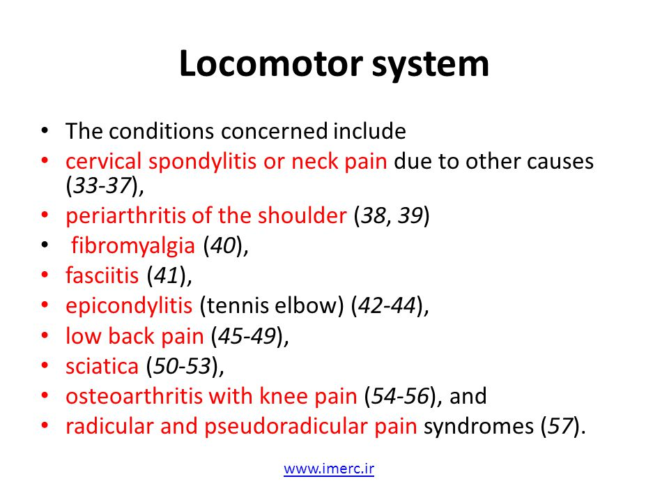 Locomotor system The conditions concerned include