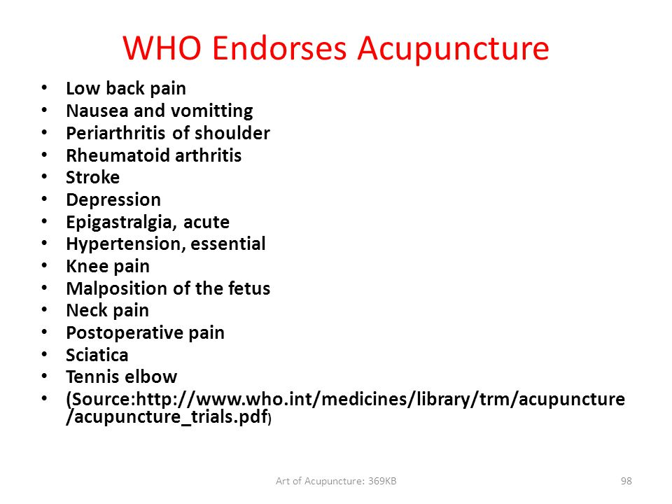 WHO Endorses Acupuncture