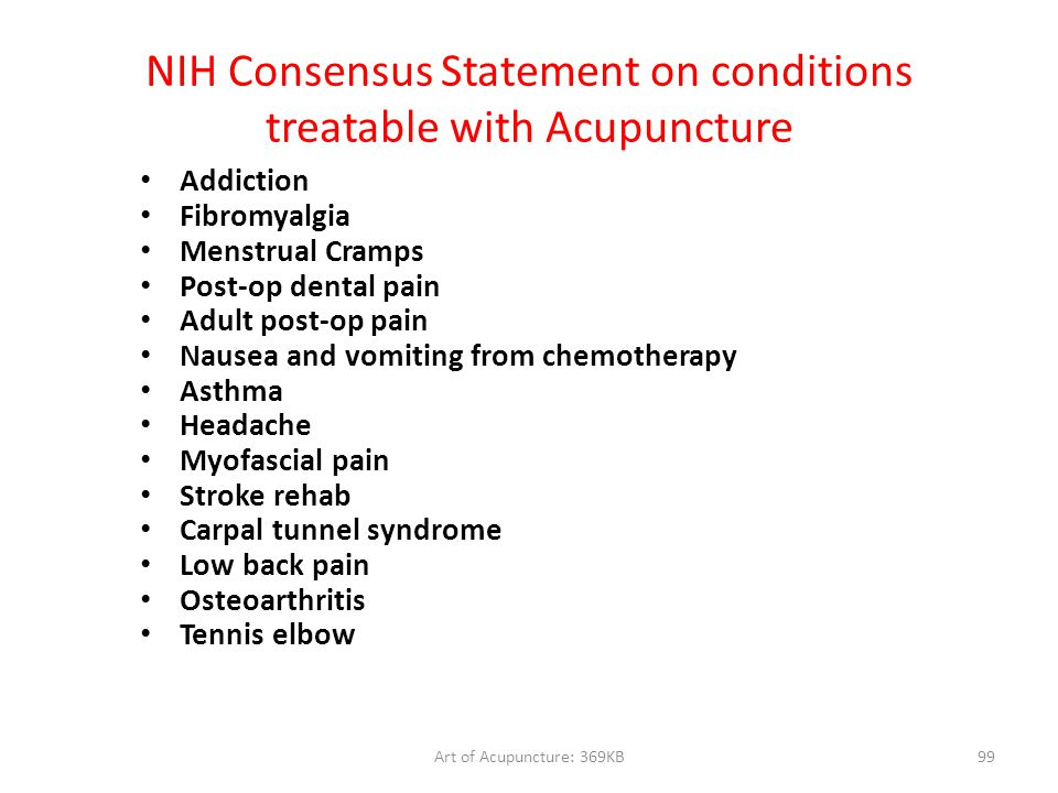 NIH Consensus Statement on conditions treatable with Acupuncture