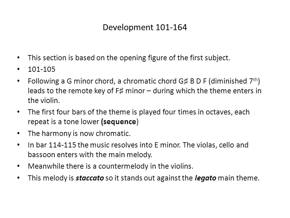 Development 101-164 This section is based on the opening figure of the first subject. 101-105.
