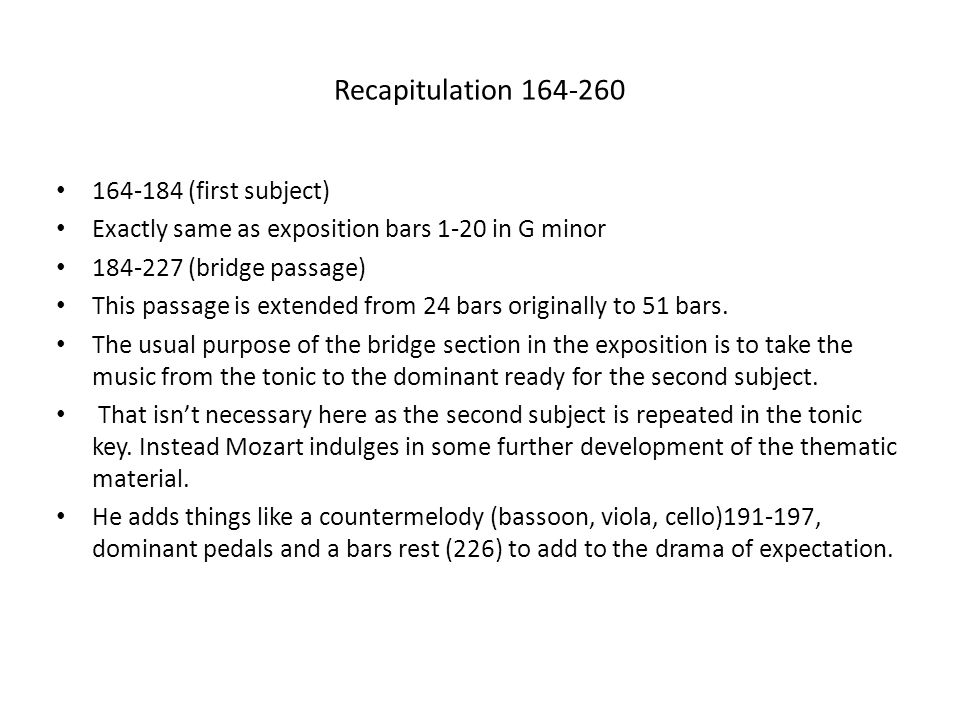 Recapitulation 164-260 164-184 (first subject)