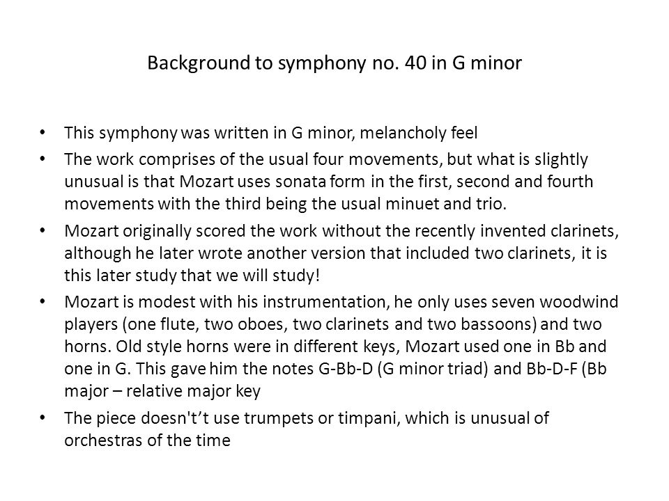 Background to symphony no. 40 in G minor