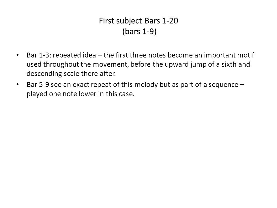 First subject Bars 1-20 (bars 1-9)