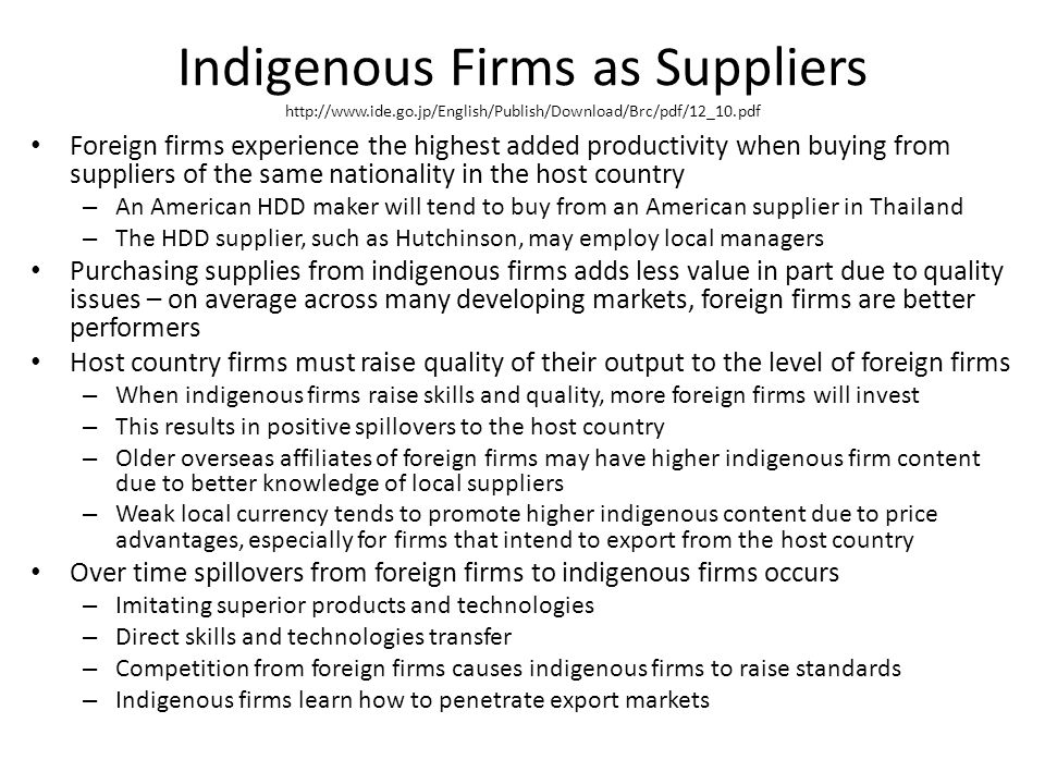 Indigenous Firms as Suppliers http://www. ide. go