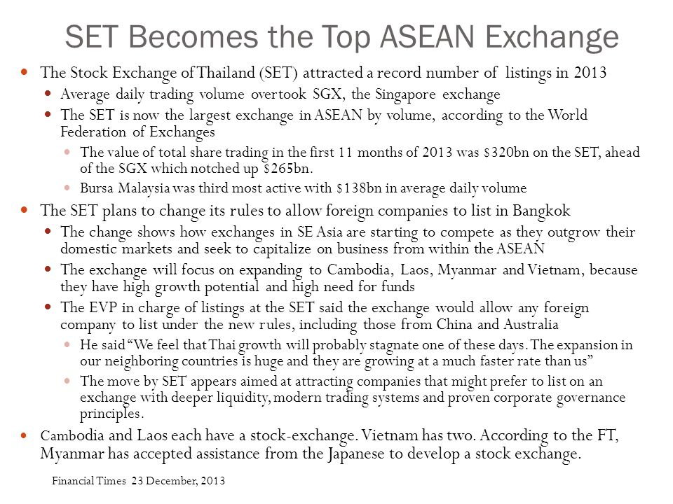 SET Becomes the Top ASEAN Exchange