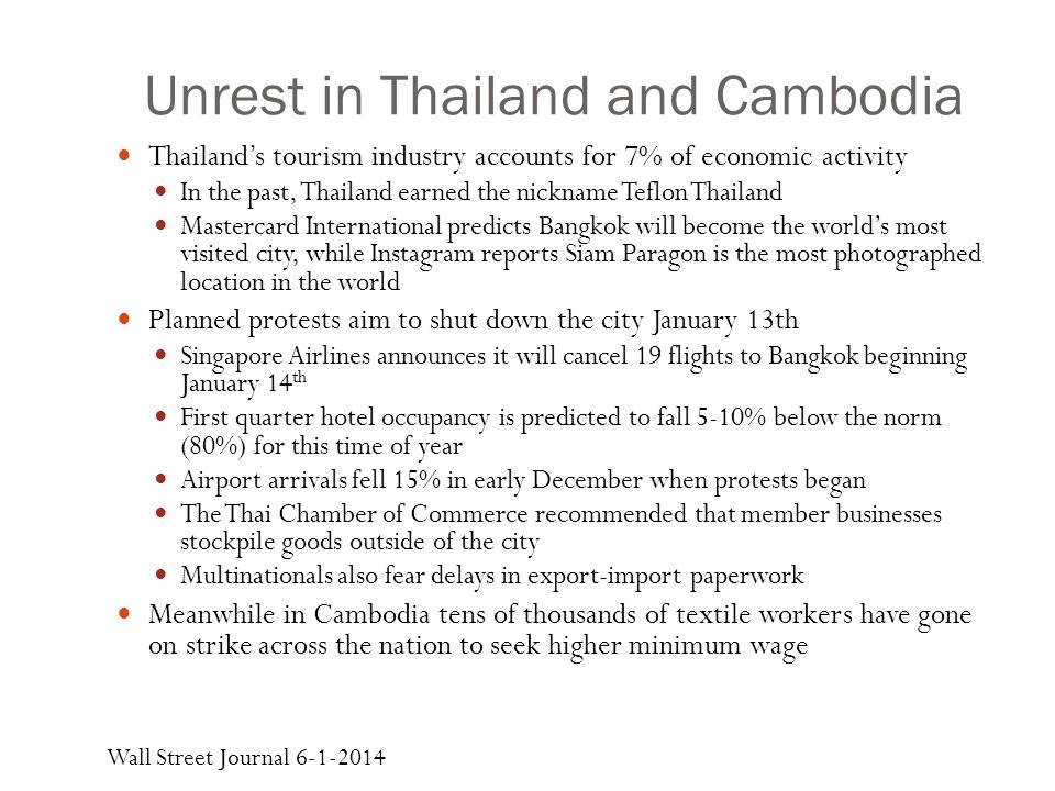 Unrest in Thailand and Cambodia