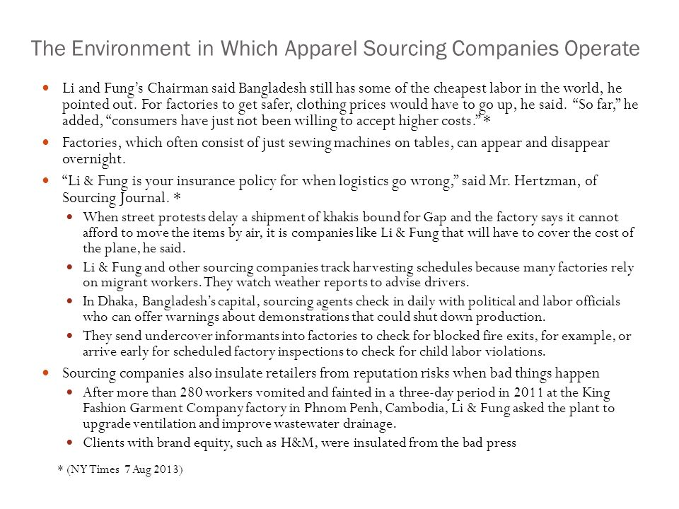 The Environment in Which Apparel Sourcing Companies Operate