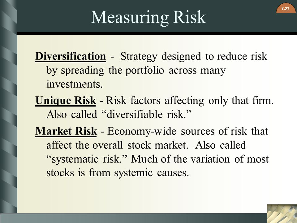 Measuring Risk Diversification - Strategy designed to reduce risk by spreading the portfolio across many investments.