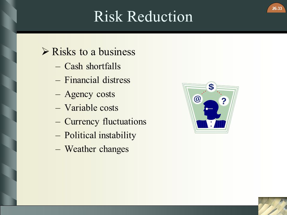 Risk Reduction Risks to a business Cash shortfalls Financial distress