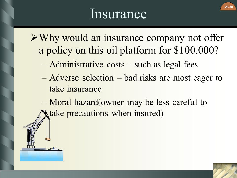 Insurance Why would an insurance company not offer a policy on this oil platform for $100,000 Administrative costs – such as legal fees.