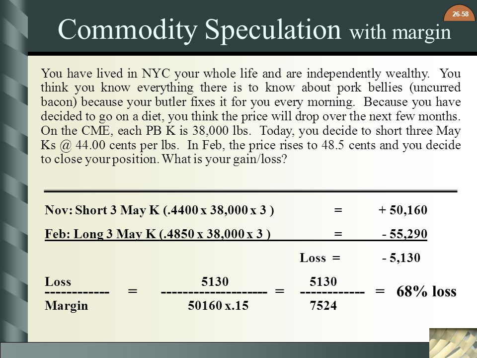 Commodity Speculation with margin