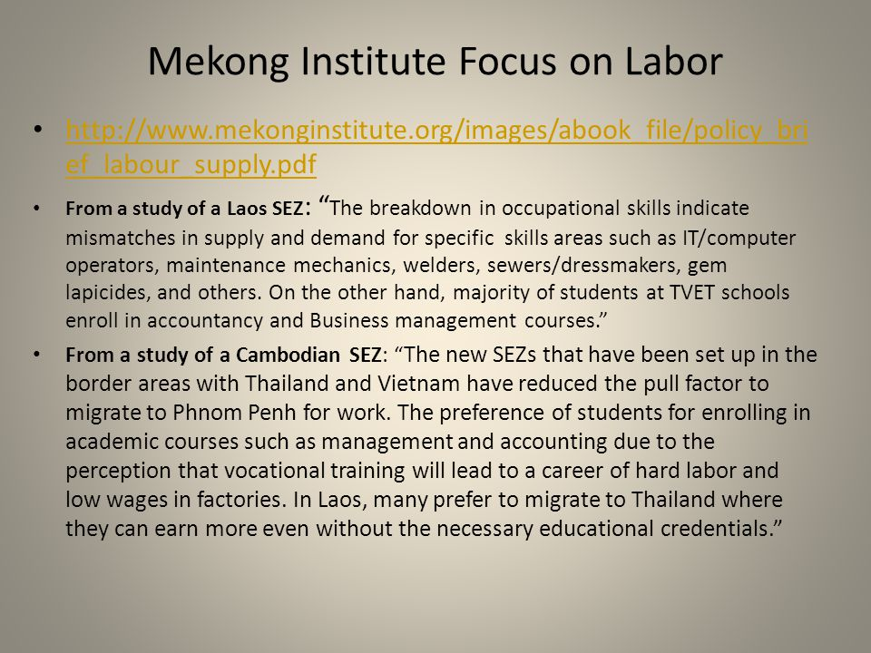 Mekong Institute Focus on Labor