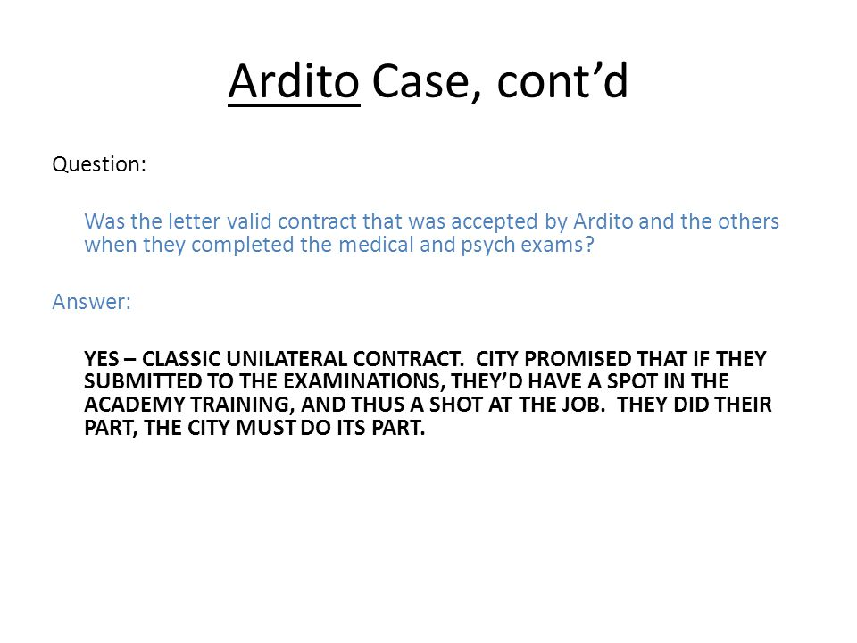 Ardito Case, cont'd Question: