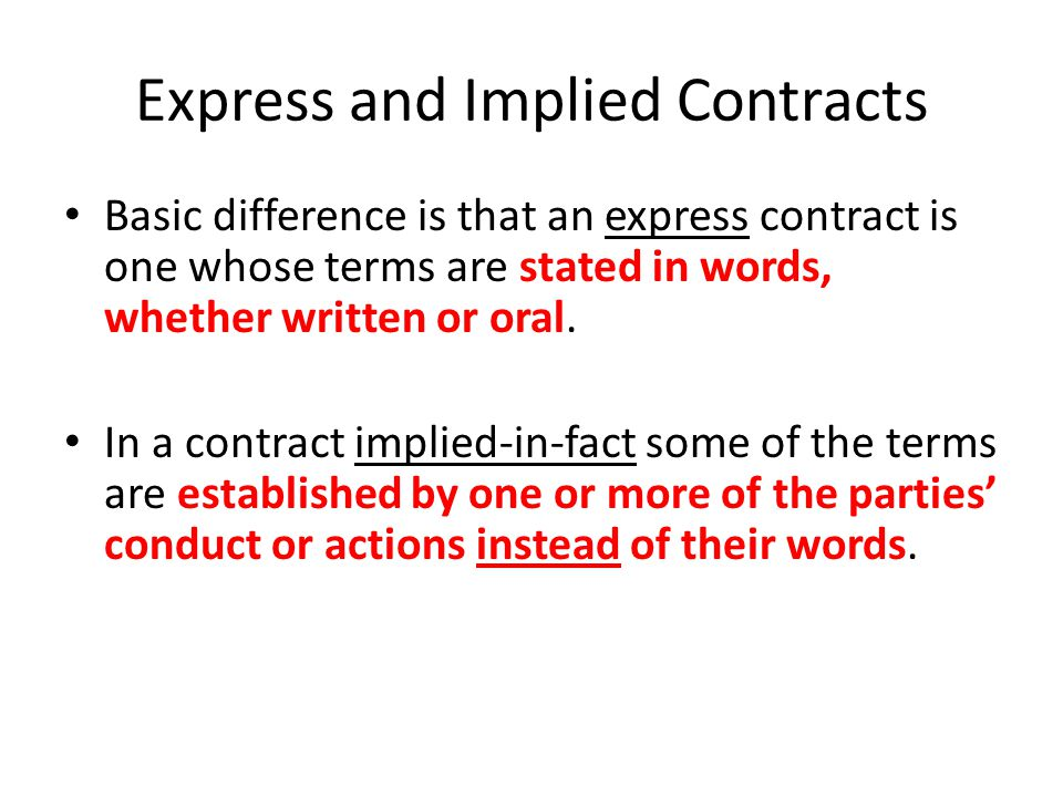 Express and Implied Contracts