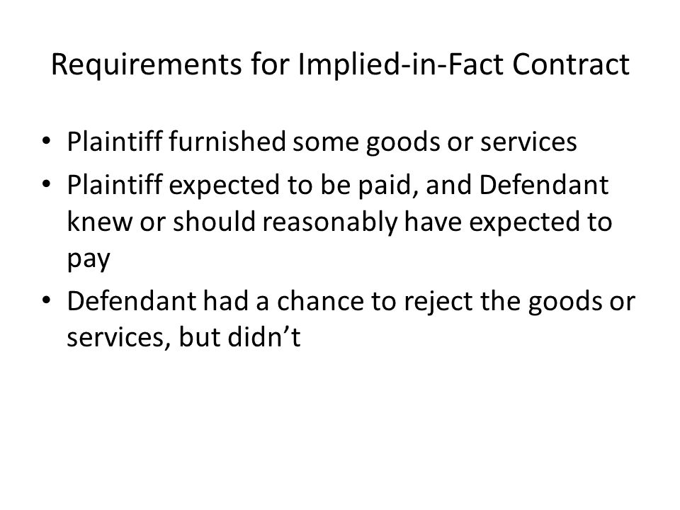 Requirements for Implied-in-Fact Contract