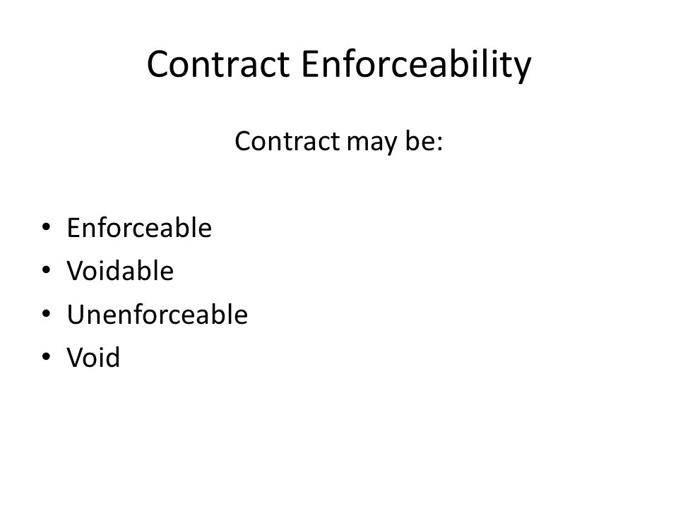 Contract Enforceability