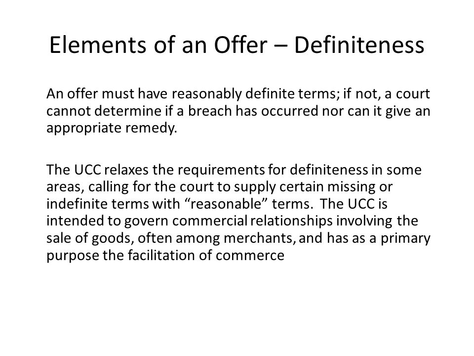 Elements of an Offer – Definiteness