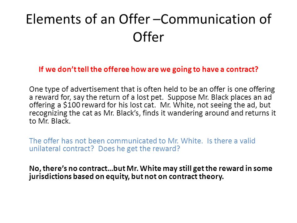 Elements of an Offer –Communication of Offer
