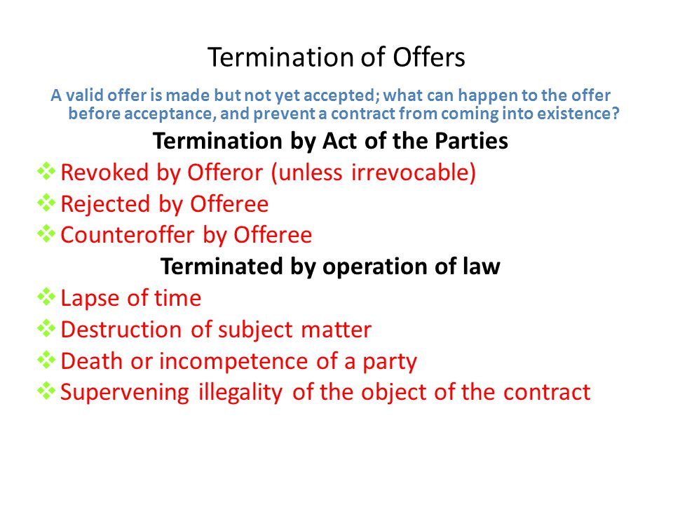 Termination by Act of the Parties Terminated by operation of law