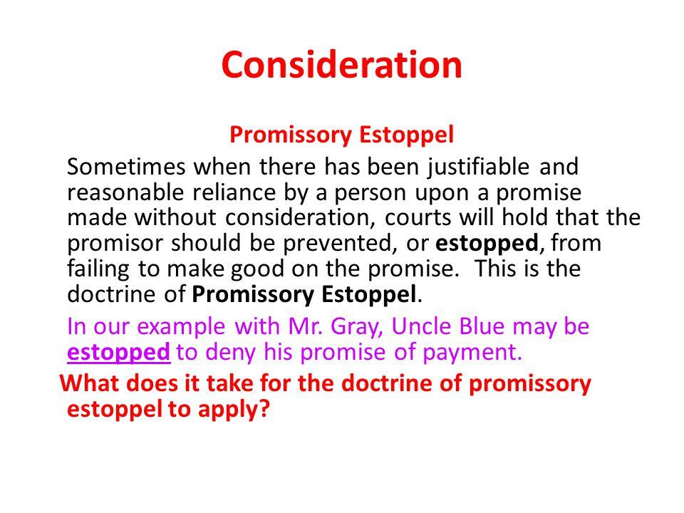 Consideration Promissory Estoppel