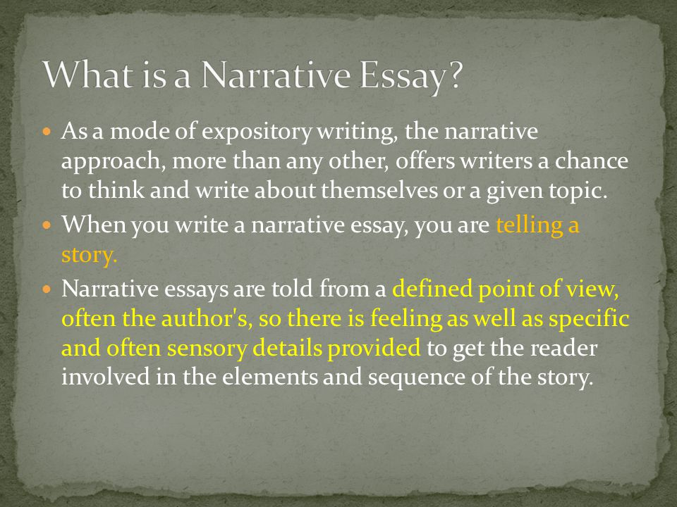 whats a narrative essay A narrative or story is a report of connected events, real or imaginary, presented in a sequence of written or spoken words, or still or moving images, or both.