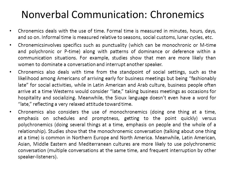 Nonverbal Communication: Chronemics