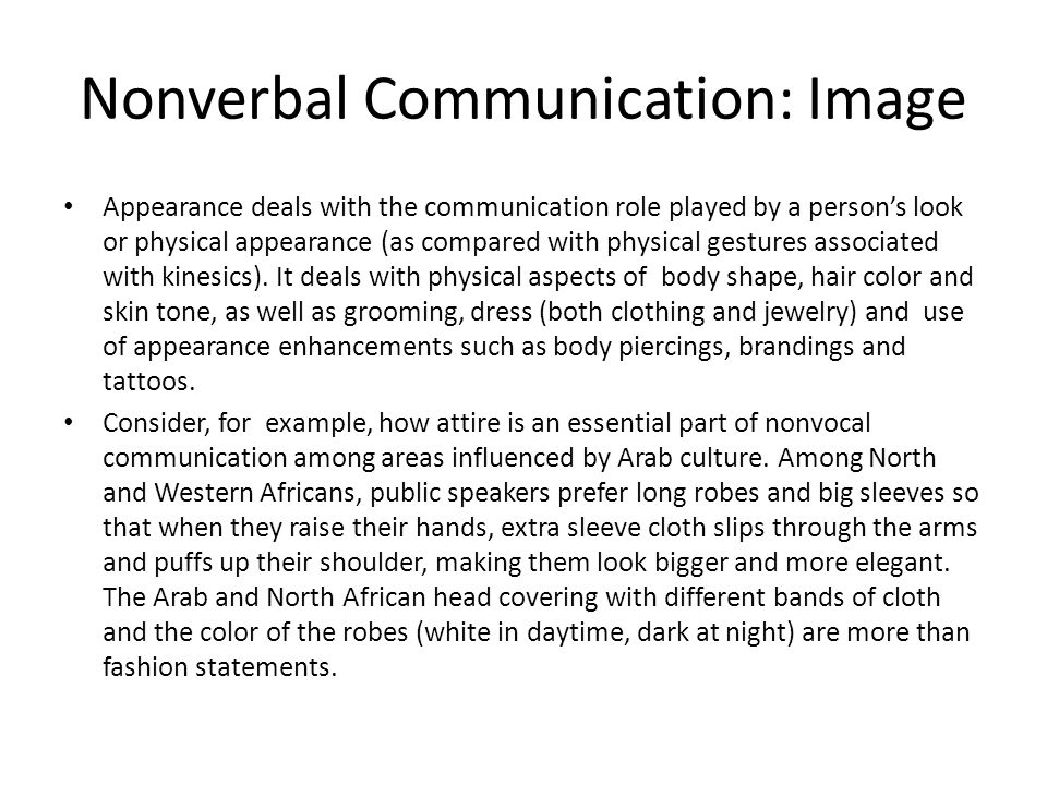 Nonverbal Communication: Image