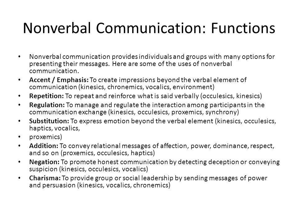 Nonverbal Communication: Functions