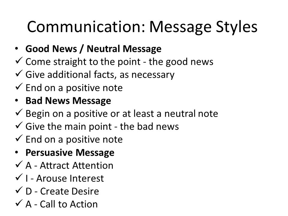 Communication: Message Styles