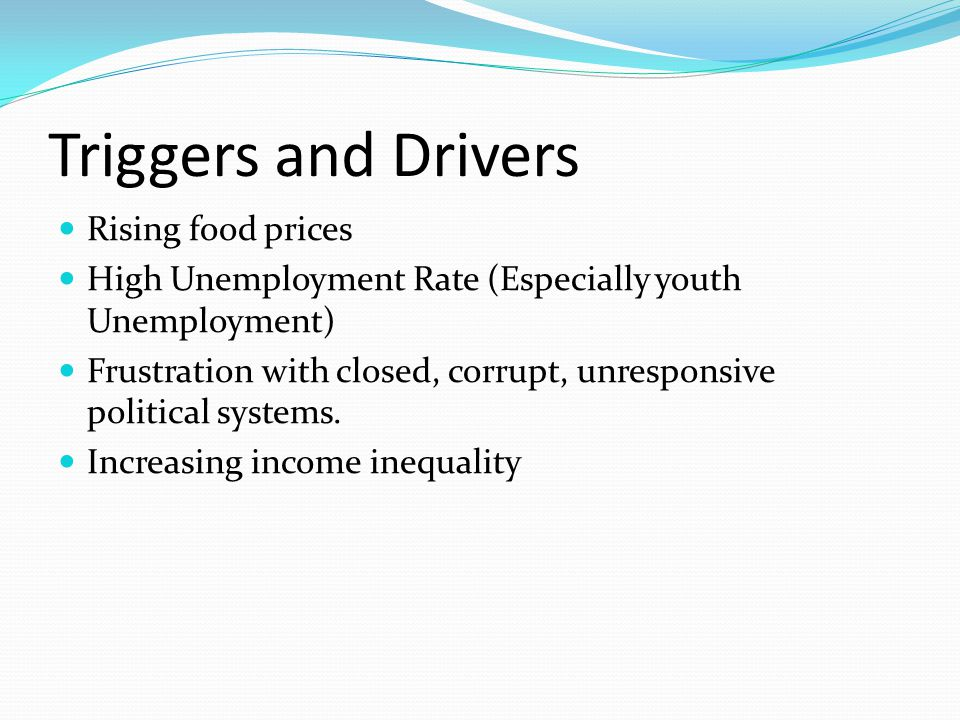 Triggers and Drivers Rising food prices