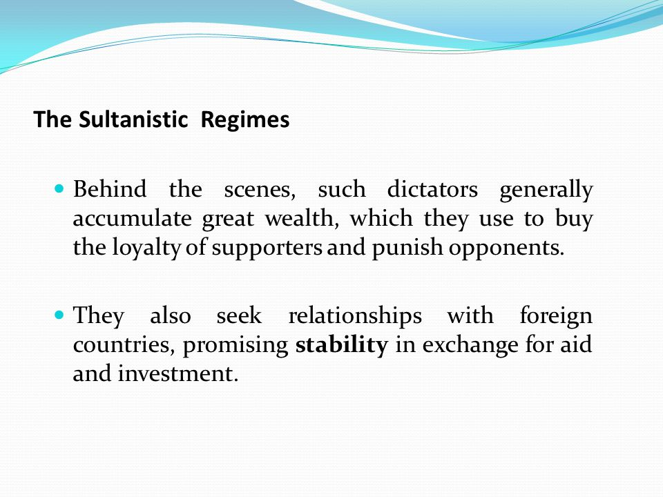 The Sultanistic Regimes