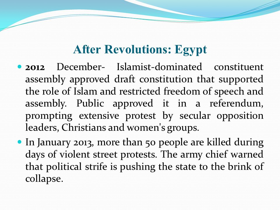 After Revolutions: Egypt