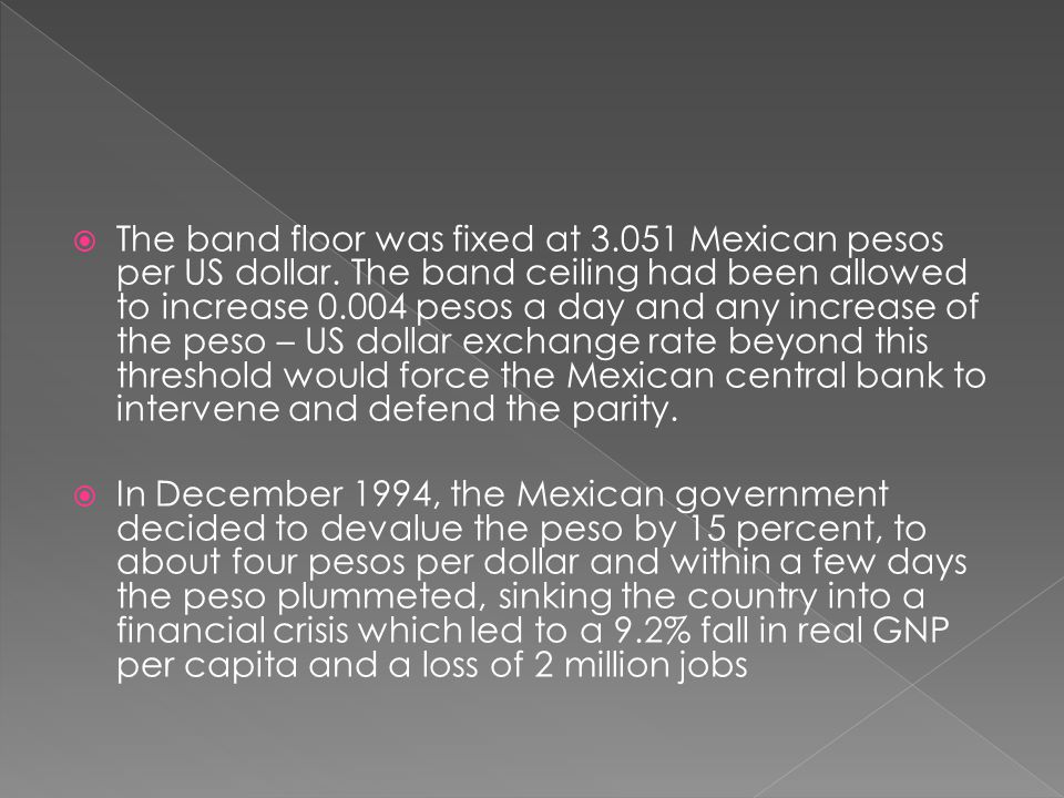 The band floor was fixed at 3. 051 Mexican pesos per US dollar