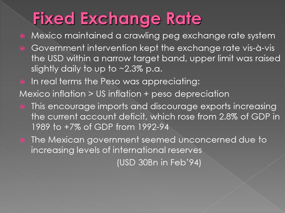 Fixed Exchange Rate Mexico maintained a crawling peg exchange rate system.
