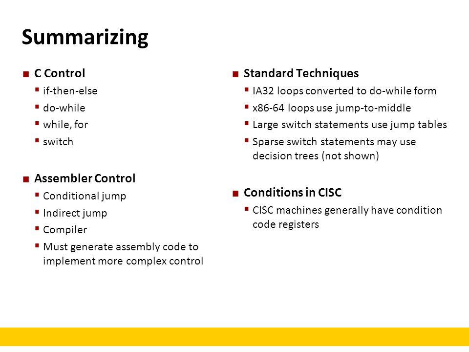 Summarizing C Control Assembler Control Standard Techniques
